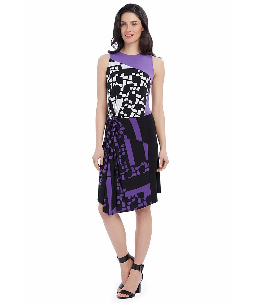 Ellen Tracy Asymmetrical Side-Twist Matte jersey Dress