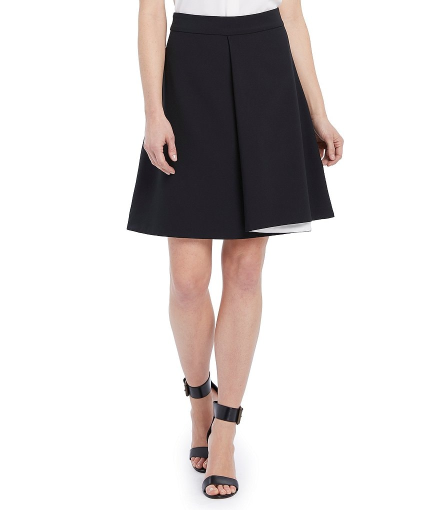 Ellen Tracy Soft Side-Fold Crepe A-Line Skirt