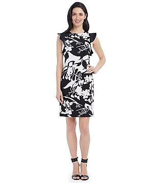 Ellen Tracy Abstract Floral Print Flutter Cap Sleeve Sheath Dress