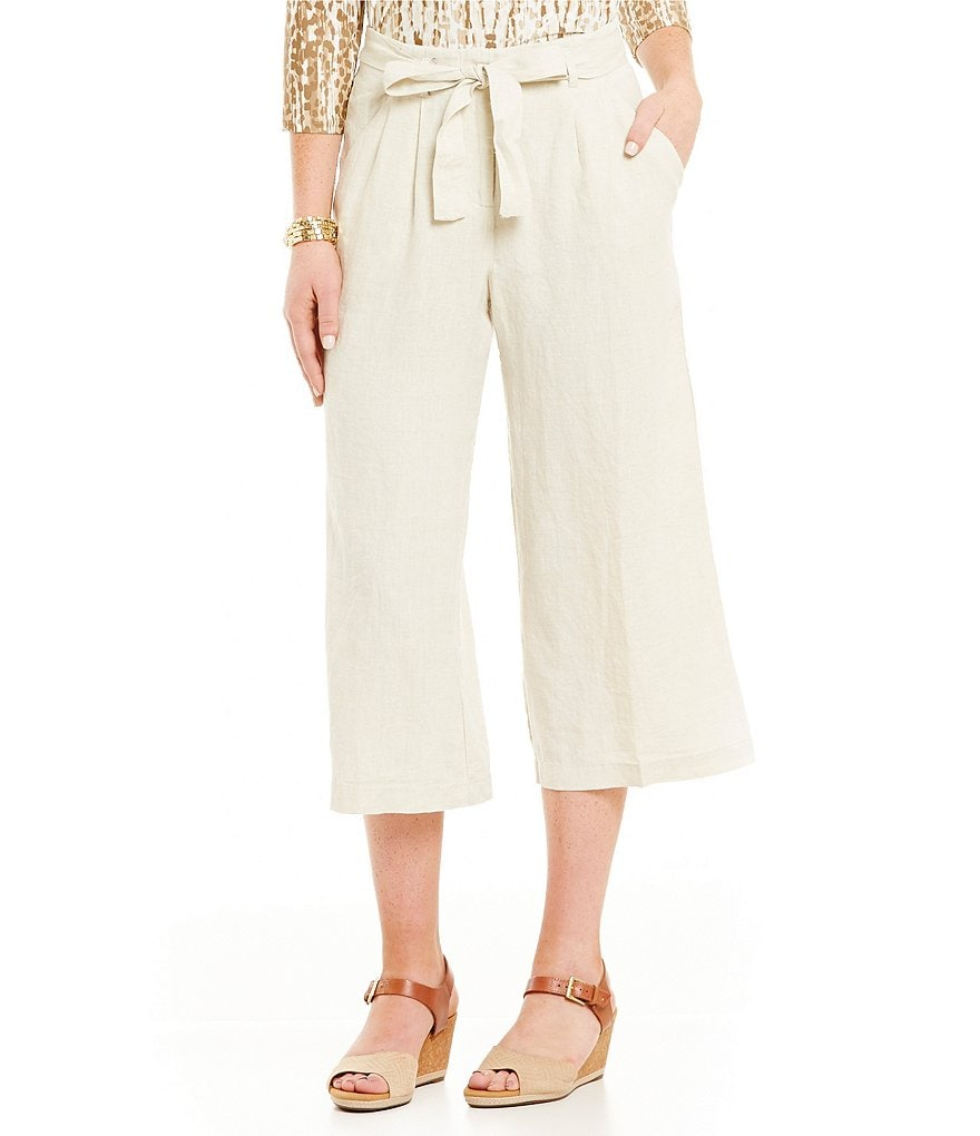 Ruby Rd. Petite Belted Waistband Linen Culotte