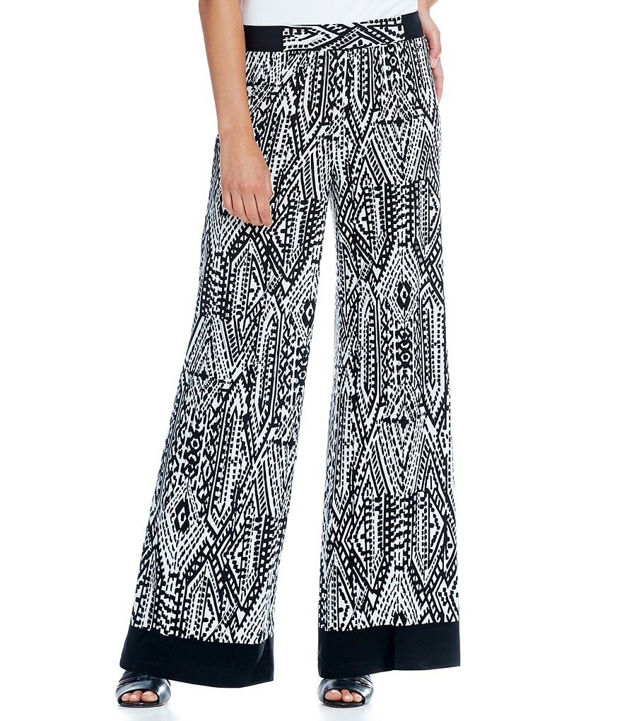 Ruby Rd. Petite Pull-On Primitive Geo Border Print Knit Palazzo Pant