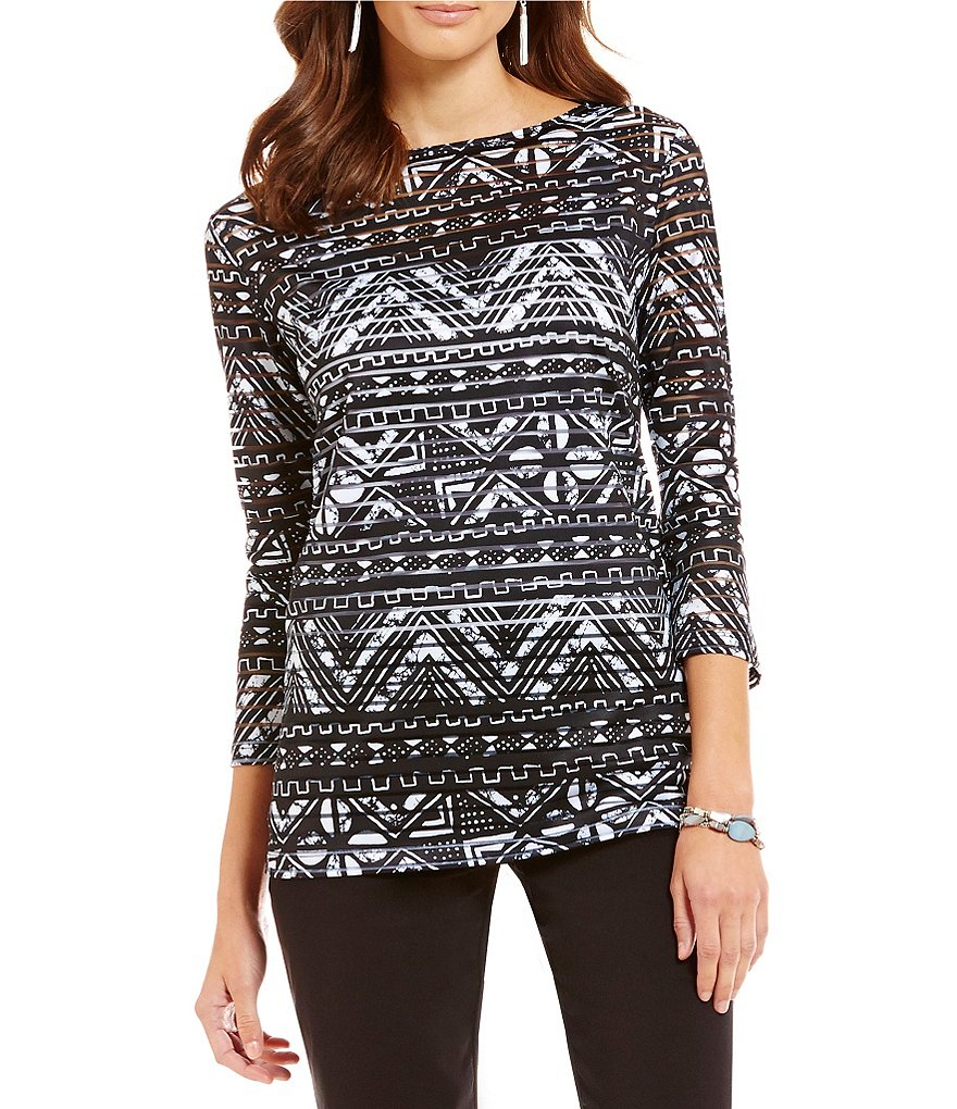 Ruby Rd. Petite Embellished Native Batik Stripe-Print Knit Top