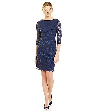 Alex Evenings 3/4 Sleeve Sequin Lace Asymmetrical Shift Dress