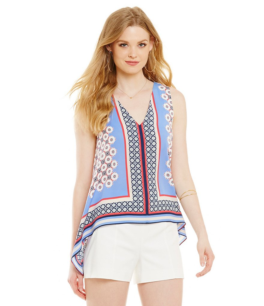 1. STATE Printed V-Neck Tunic Top