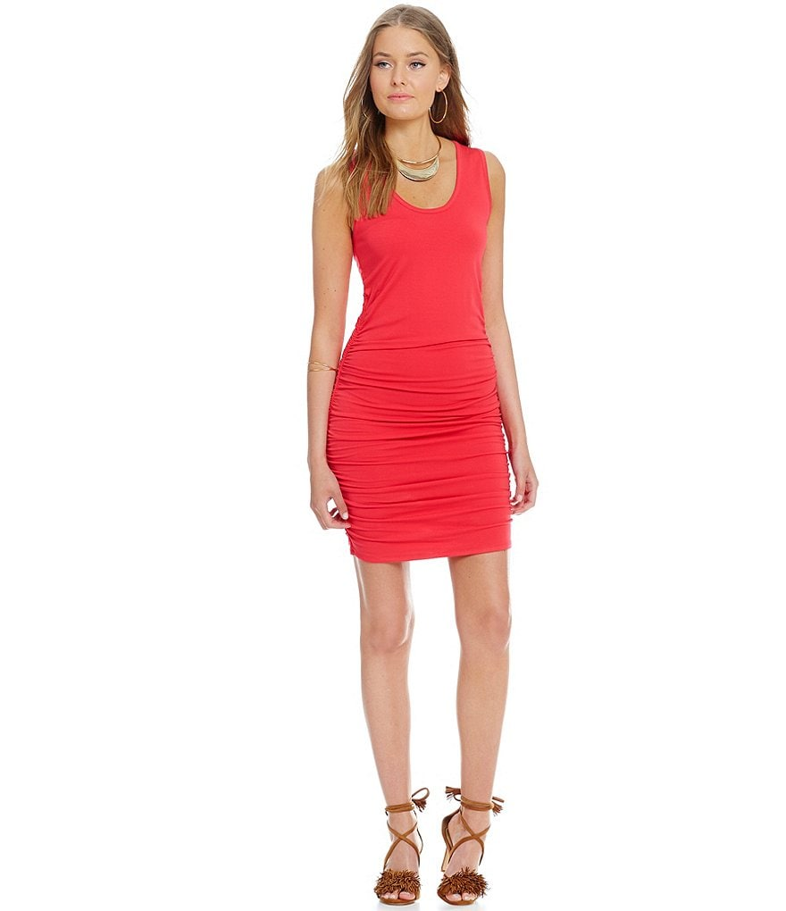 1. STATE Sleeveless Side Ruched Tank Dress