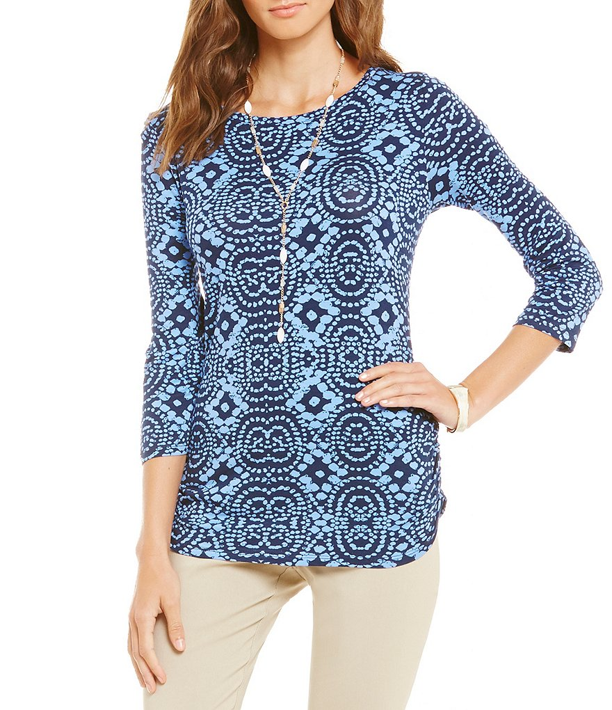 Ruby Rd. Petites Embellished Scoop-Neck Geo Dot Batik Print Knit Top