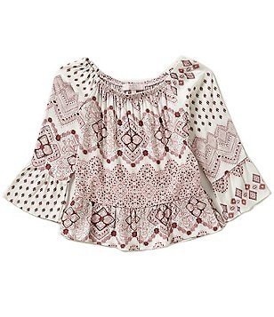 Moa Moa Big Girls 7-16 Bell Sleeve Peasant Top