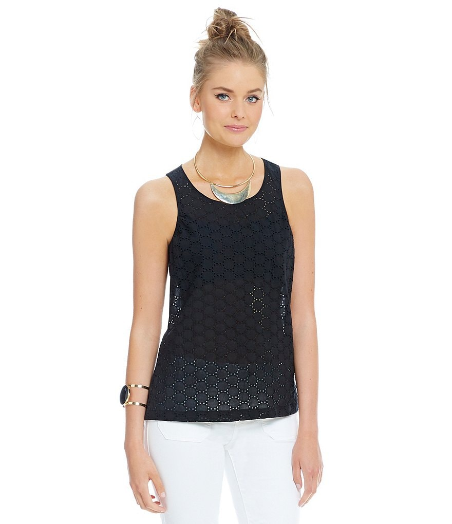 Sanctuary Eyelet Trapeze Olivia Shell Top