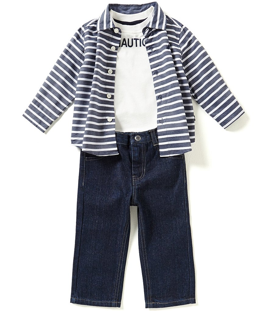 Nautica Baby Boys 12-24 Months Striped Long-Sleeve Woven Shirt, Solid Logo Tee & Denim Jeans Set