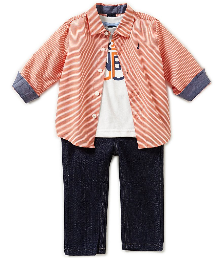 Nautica Baby Boys 12-24 Months Checked Long-Sleeve Shirt, Anchor Short-Sleeve Tee & Denim Jeans