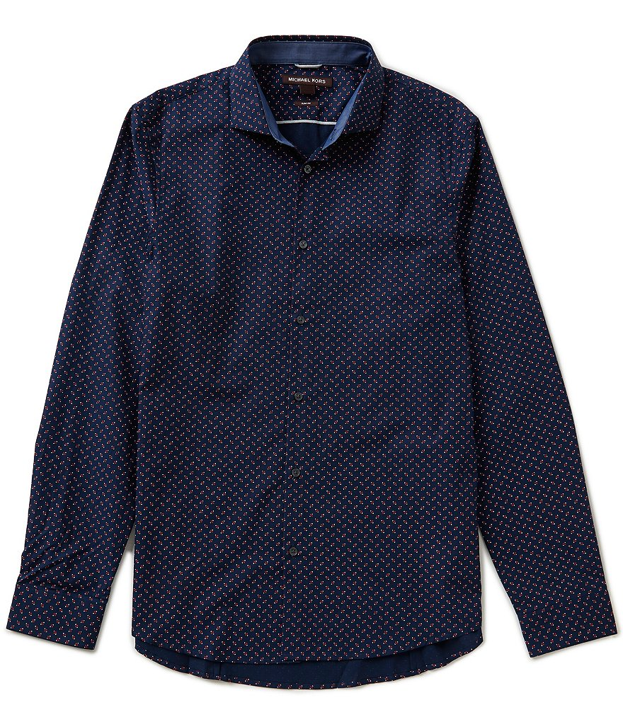 Michael Kors Long-Sleeve Slim-Fit Repeating Print Woven Shirt