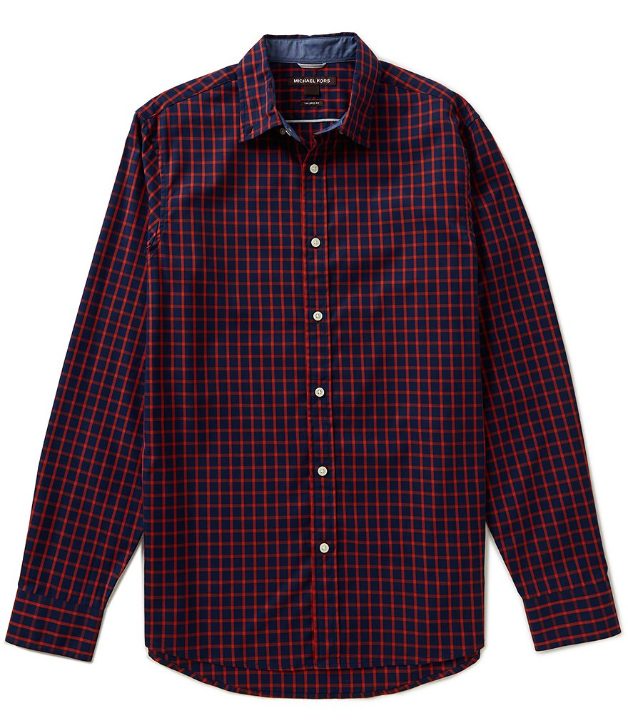 Michael Kors Long-Sleeve Tailored-Fit Chase Check Woven Shirt