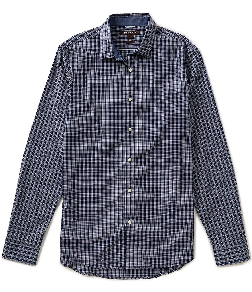 Michael Kors Long-Sleeve Slim-Fit Joseph Check Woven Shirt