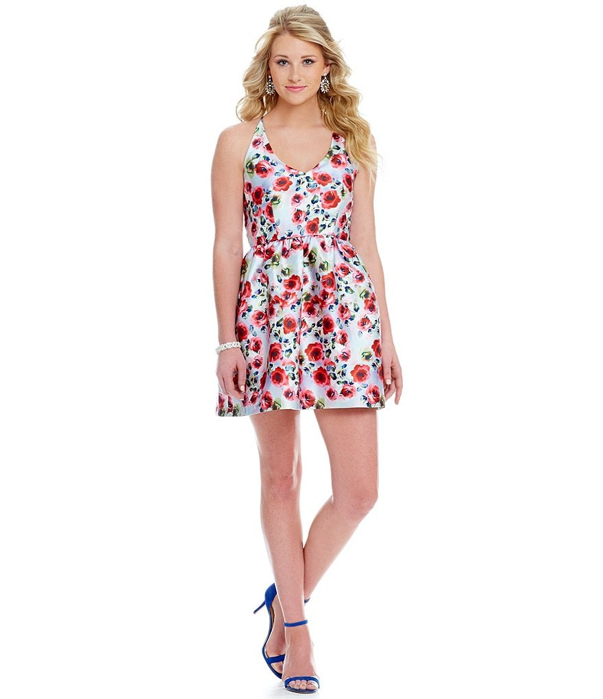 Teeze Me Floral Print Skater Party Dress