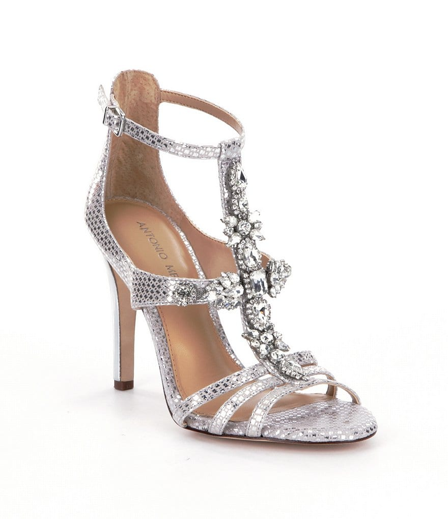 Antonio Melani Bryana Jeweled T-Strap Dress Sandals