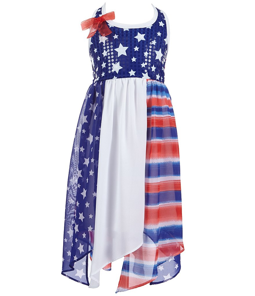 Bonnie Jean Little Girls 2T-6X Americana Spangled-Knit/Chiffon Halter Dress
