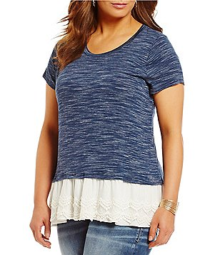 Moa Moa Plus Lace Trim Scoop Neck Top