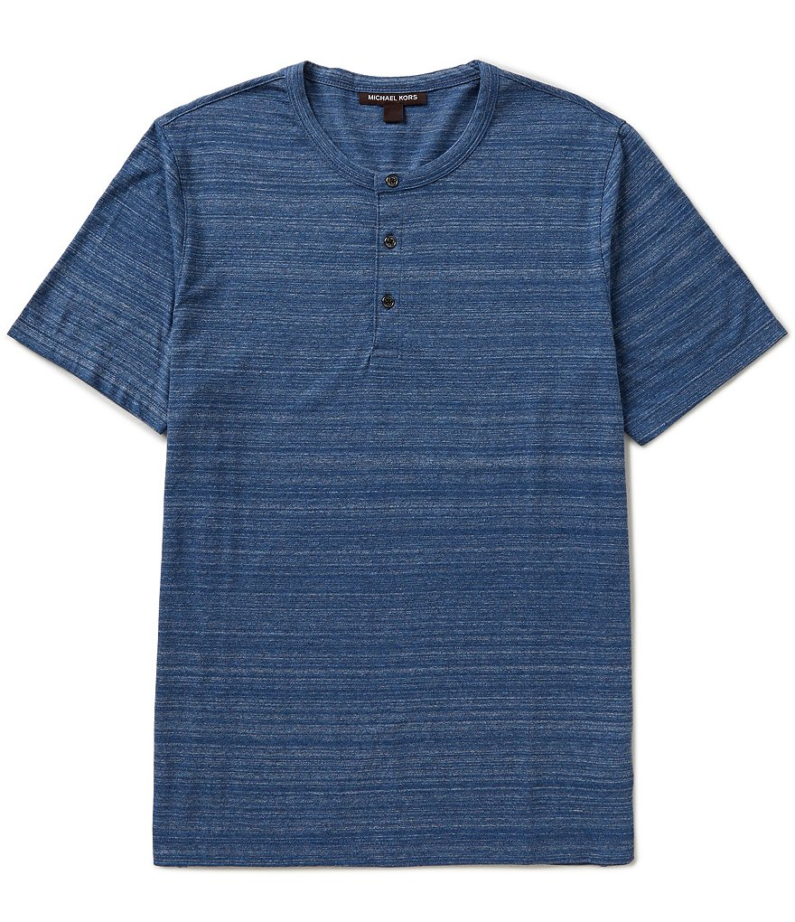 Michael Kors Space-Dyed Henley Tee Shirt