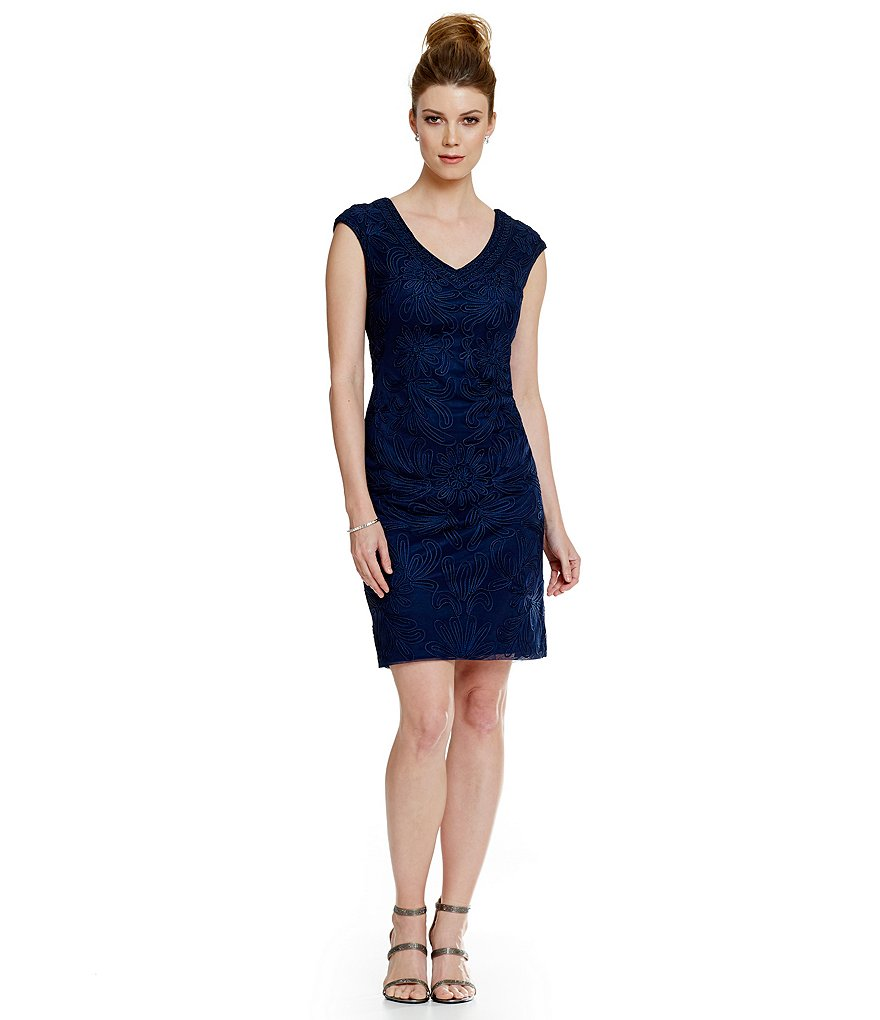 Sue Wong Soutache Cap Sleeve Shift Dress