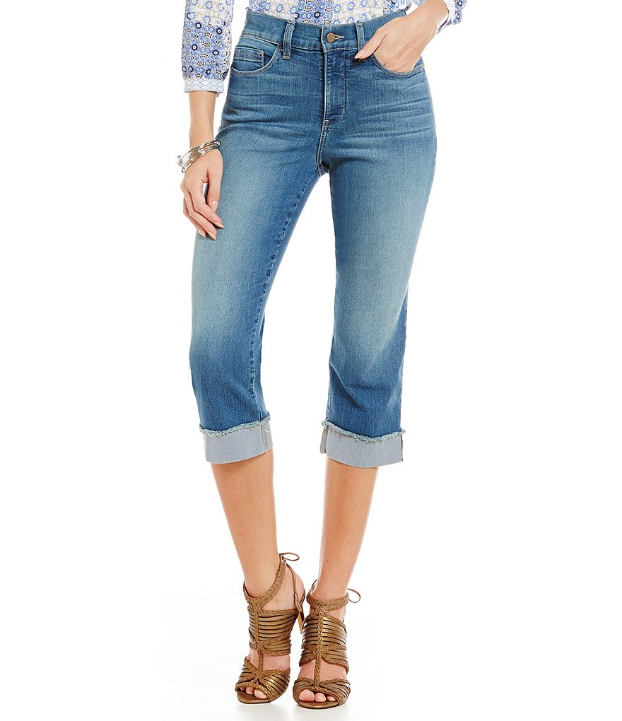 NYDJ Petite Ariel Crop Jeans with Fray Roll-Cuff