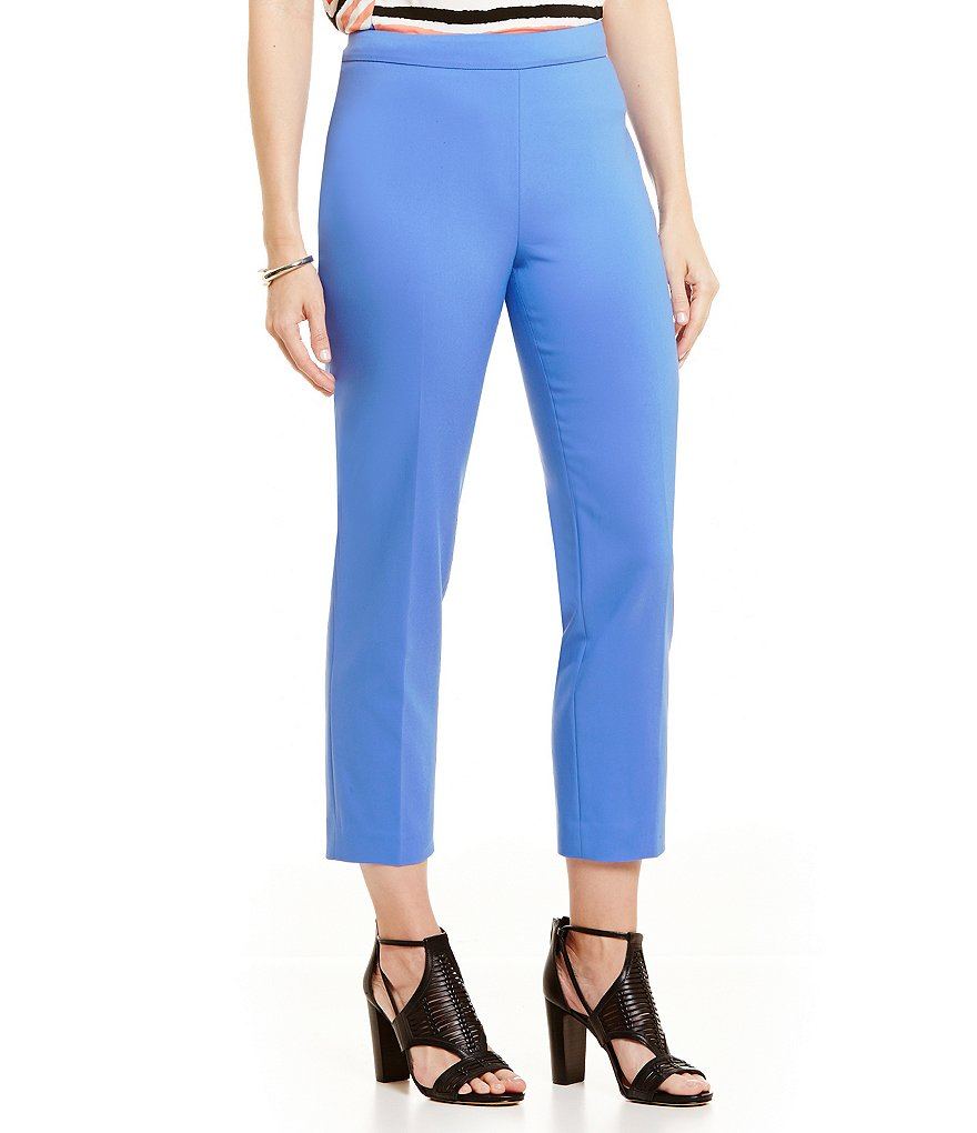 Chaus Solid Courtney Crop Side Zip Pant
