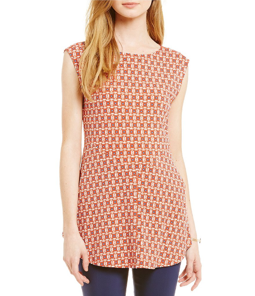 Chaus Short Sleeve Harmony Aura Printed Cap Sleeve Top
