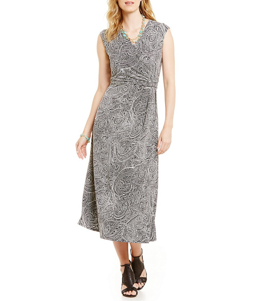 Chaus Side Knot Paisley-Print Midi Dress