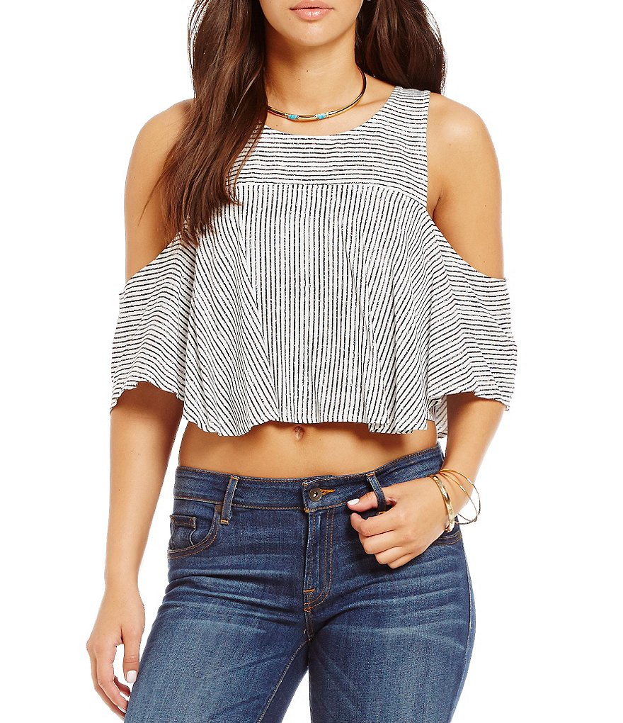 Guess Flara Striped Cold-Shoulder Cropped Top