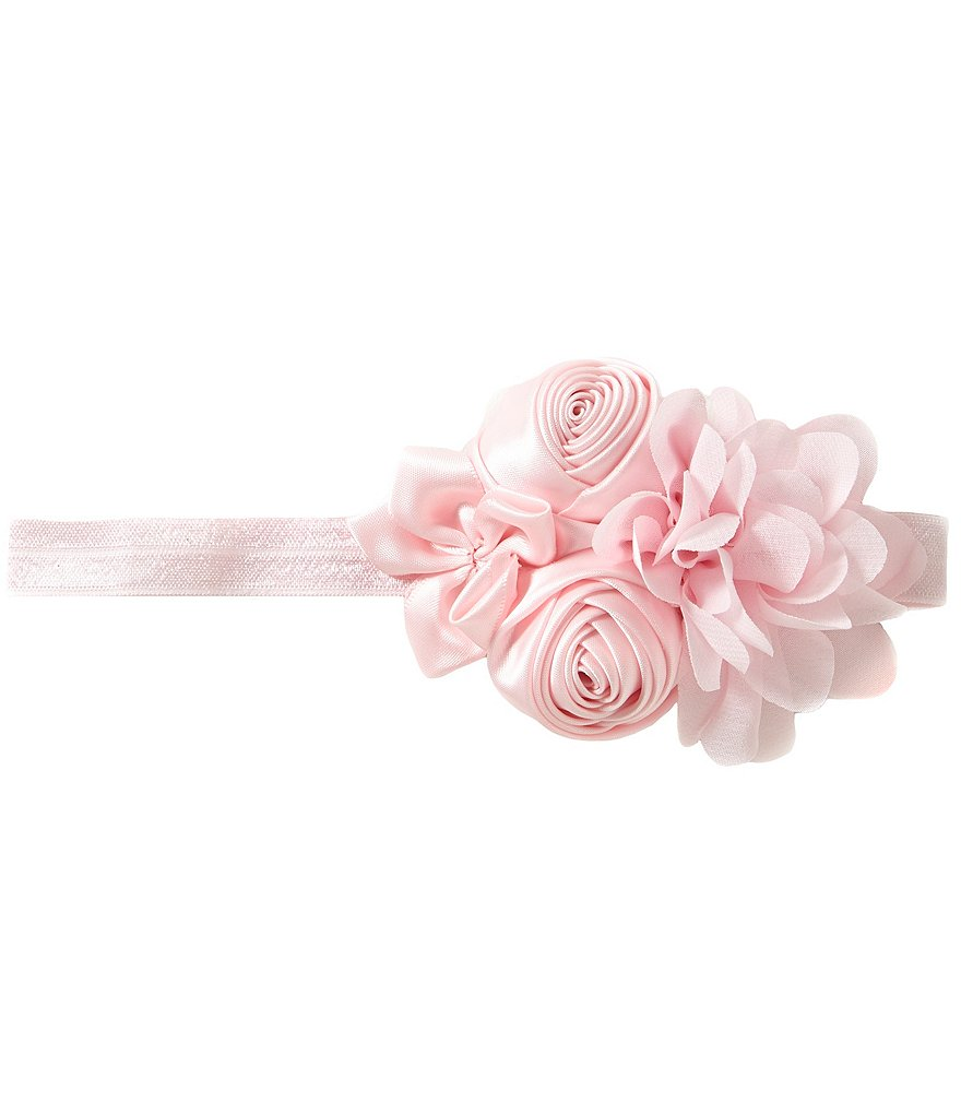 Starting Out Satin Rosette & Chiffon Flower Headband
