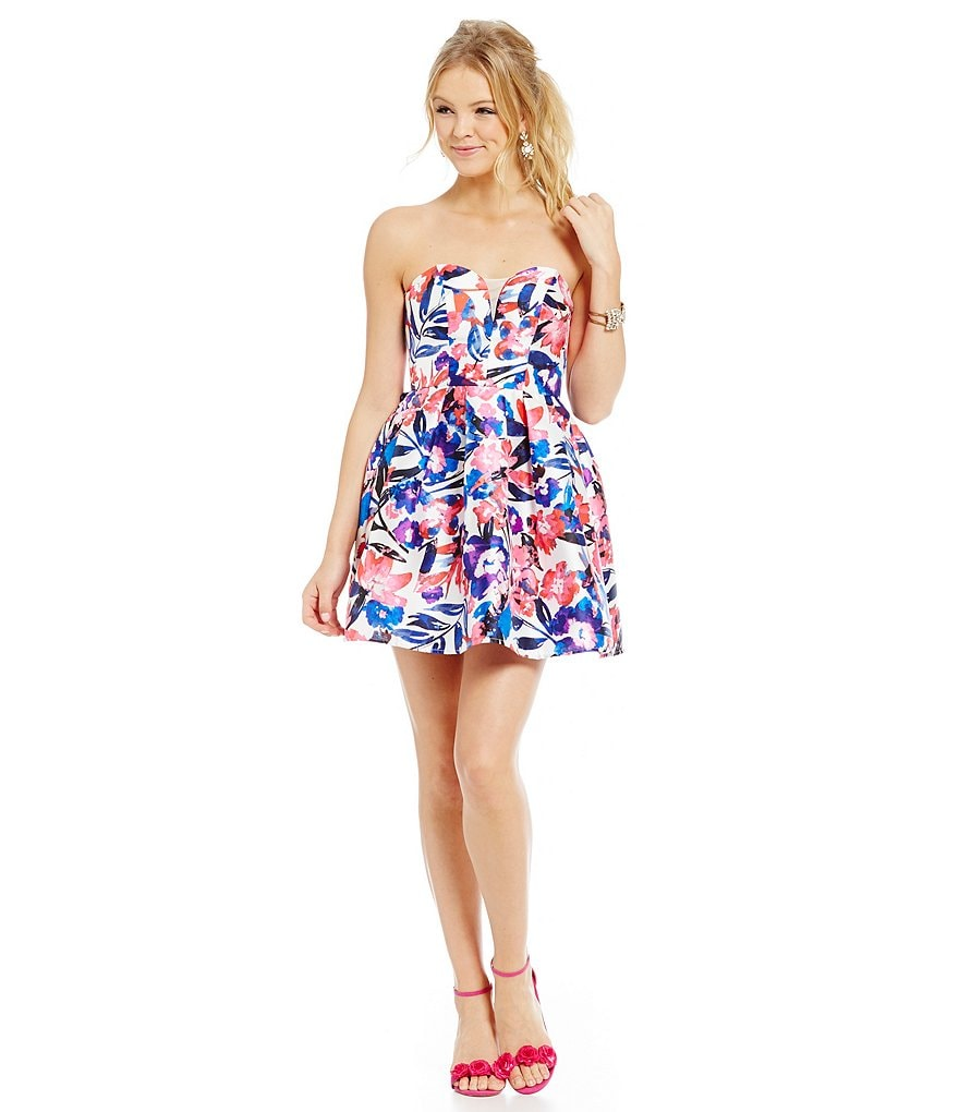 B. Darlin Floral Print Strapless Fit-and-Flare Party Dress