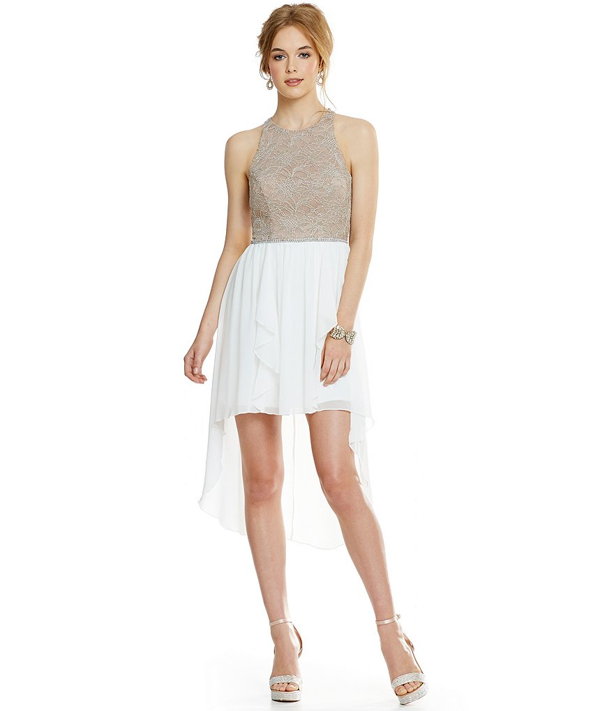 Jodi Kristopher Lace-Bodice Sheer-Overlay High-Low-Hem Sheath Dress