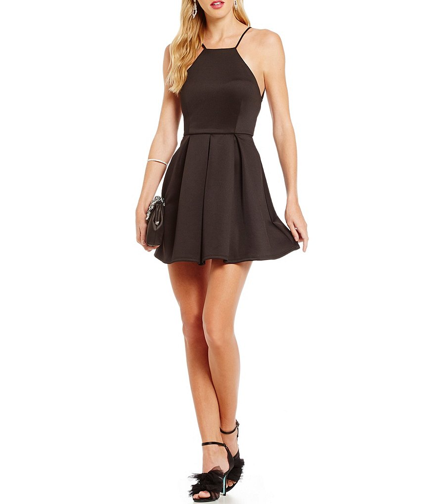 B. Darlin Spaghetti-Strap Pleated-Skirt High Neck Scuba Fit-and-Flare Dress