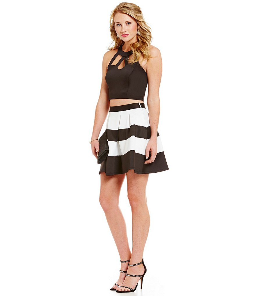 Midnight Doll Cage Top Striped Skirt Two-Piece Dress