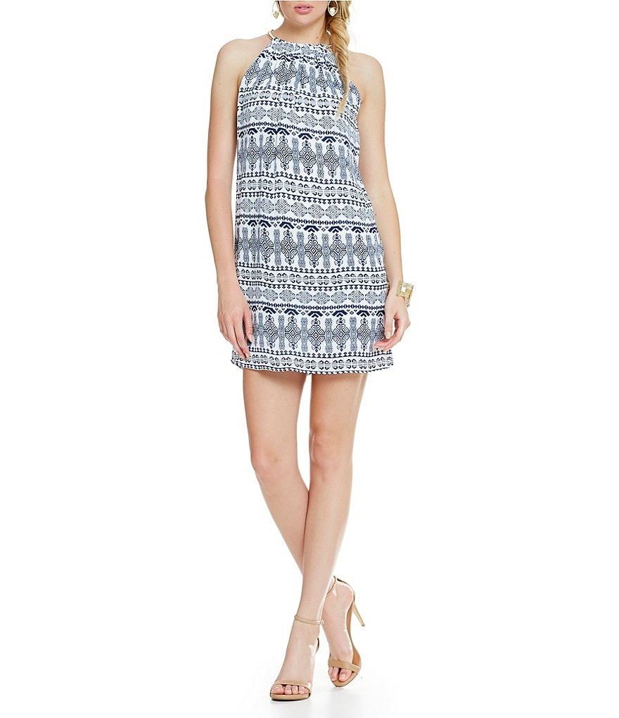 B. Darlin Chain Neckline Tribal-Striped Dress