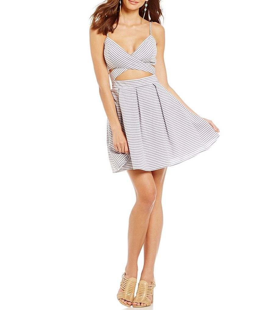 Jodi Kristopher Striped Mock Two-Piece Dress