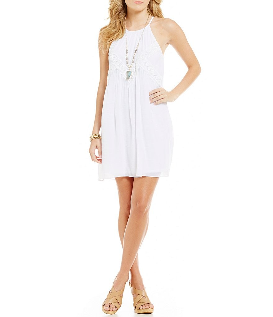 I.N. San Francisco Crochet-Trim Gauze Trapeze Dress