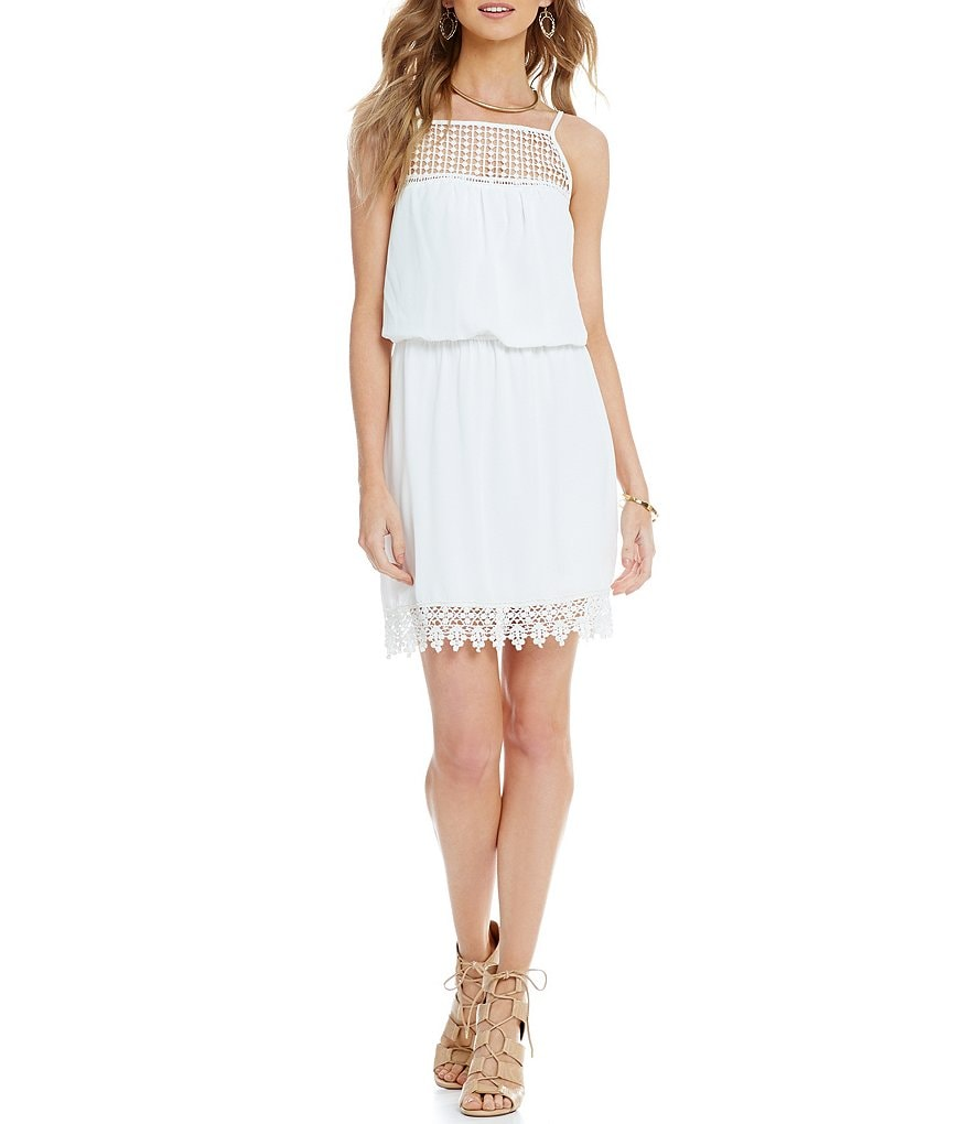 B. Darlin Crocheted-Trim Blouson Dress