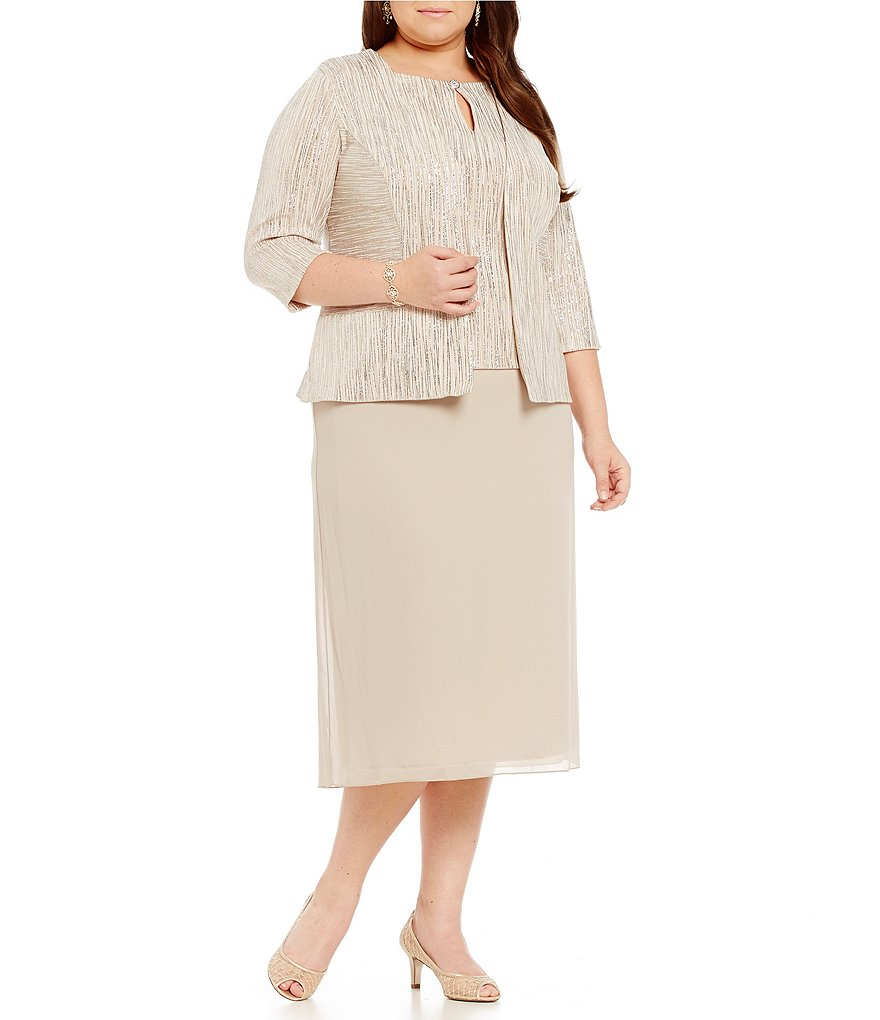 Alex Evenings Plus Tea-Length Jacket Dress