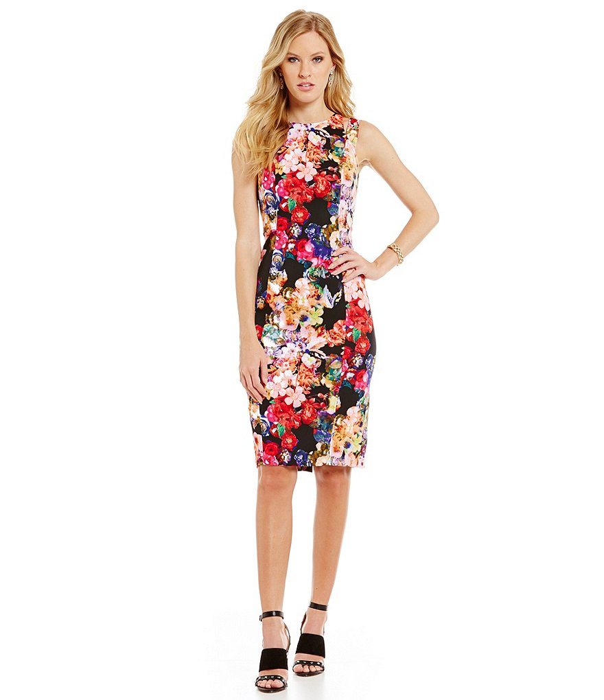 Maggy London Floral Scuba Midi Sheath Dress