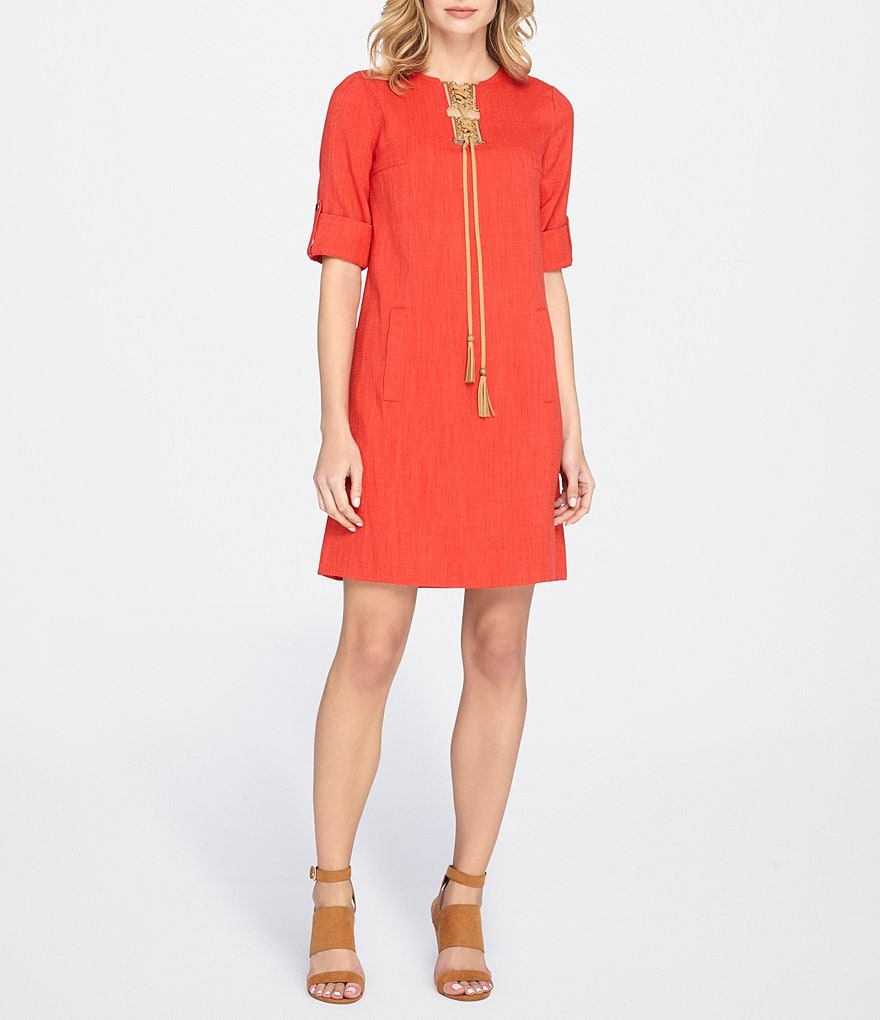 Tahari ASL Lace Up Sheath Dress