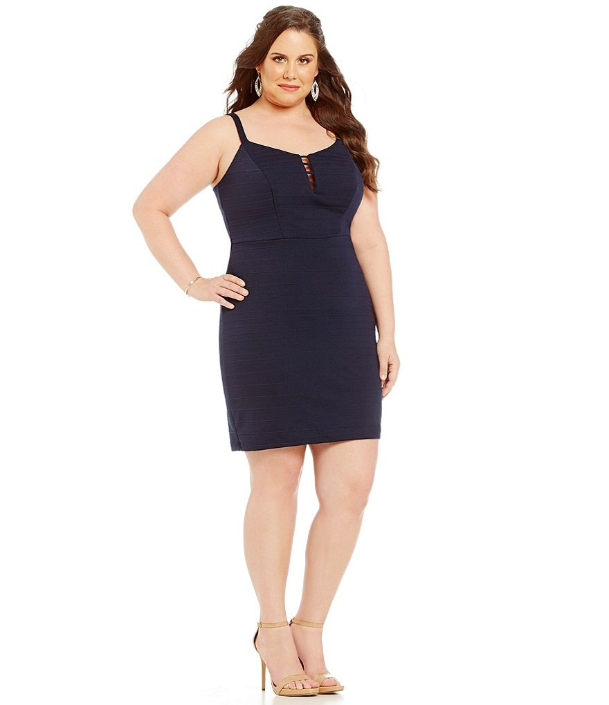 Teeze Me Plus V-Neck Paneled Sheath Dress