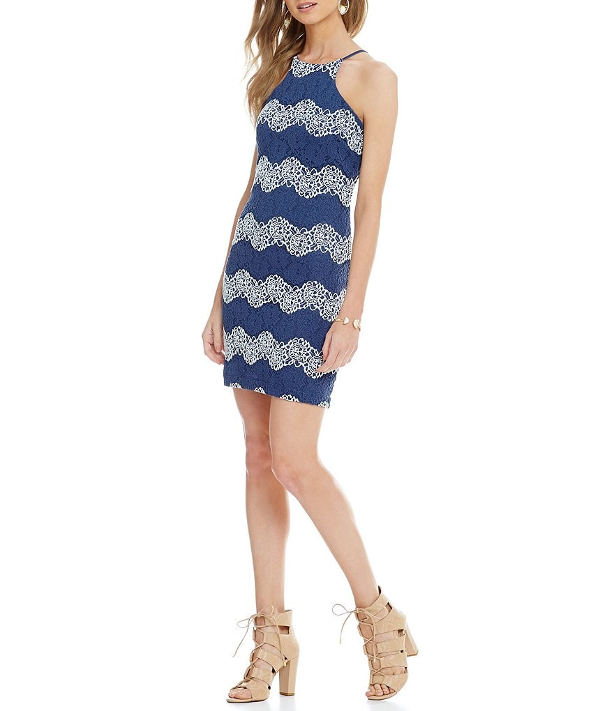 Teeze Me Two-Tone Striped Lace Sheath Dress