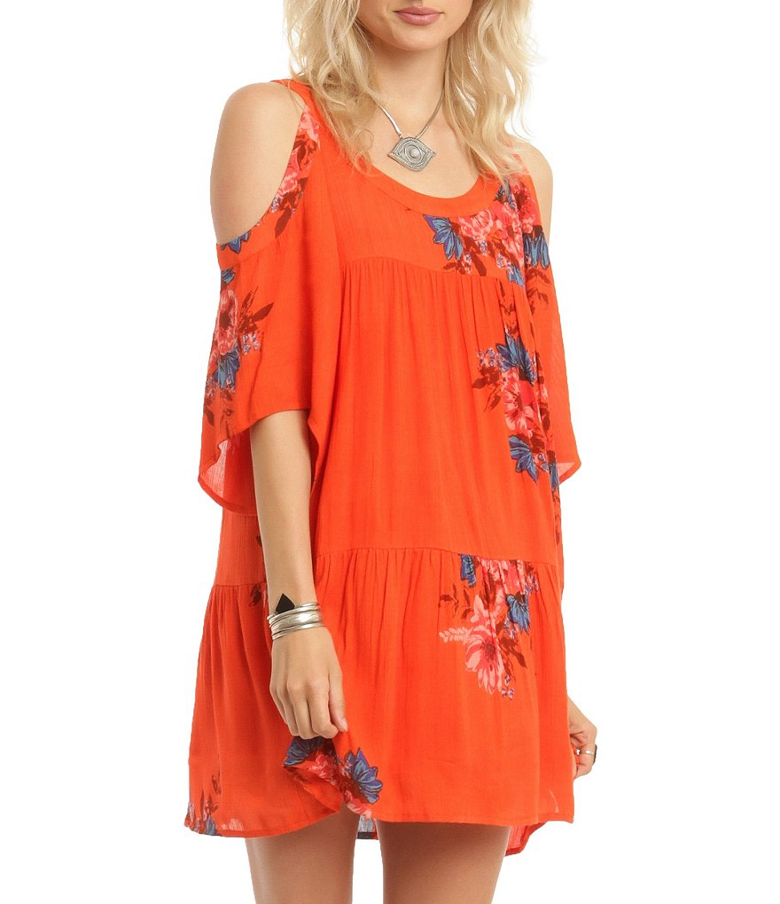 O´Neill Corrie Floral Printed Cold Shoulder Gauze Dress