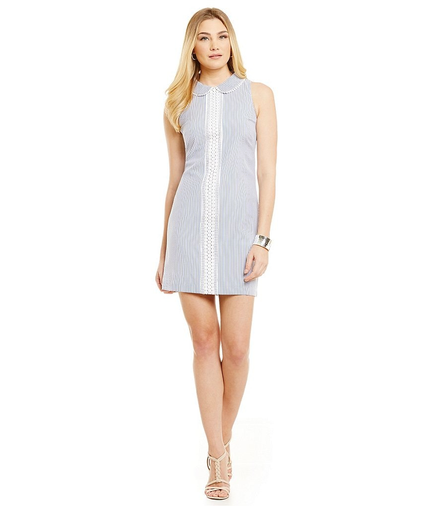 London Times Seersucker Inset-Lace Shift Dress