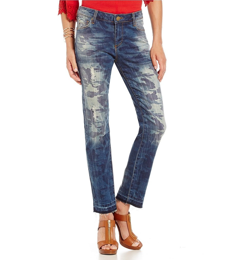 KUT from the Kloth Reece Camo-Print Destruction Ankle Jeans