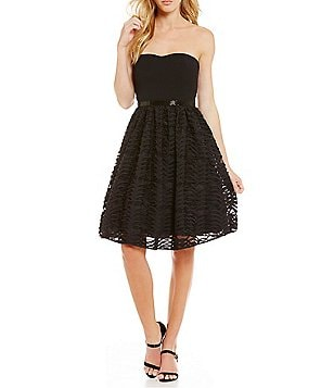 Calvin Klein Strapless Laser Cut Sleeveless Fit and Flare Dress