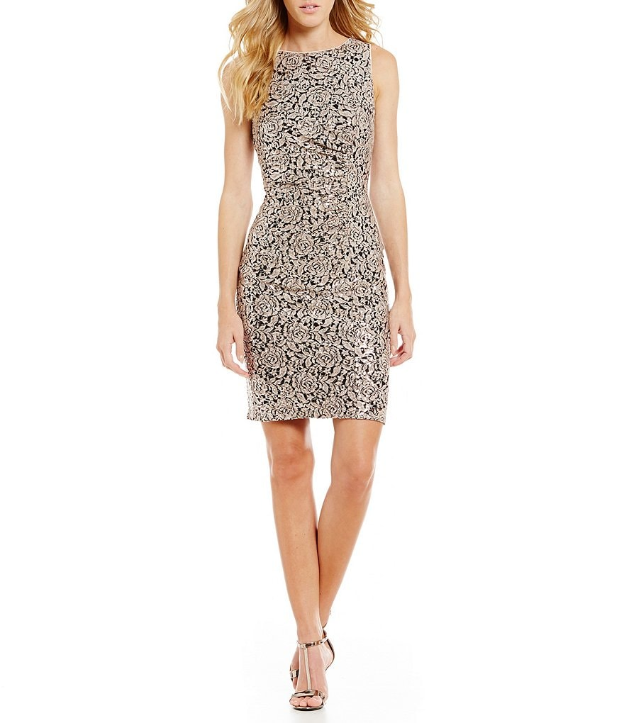 Calvin Klein Floral Sequin Ruched Floral Dress