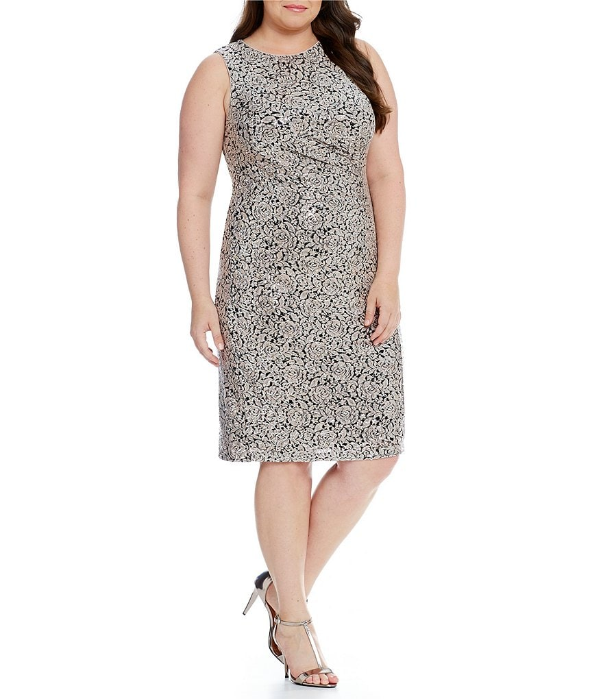 Calvin Klein Plus Floral Sequin Ruched Dress