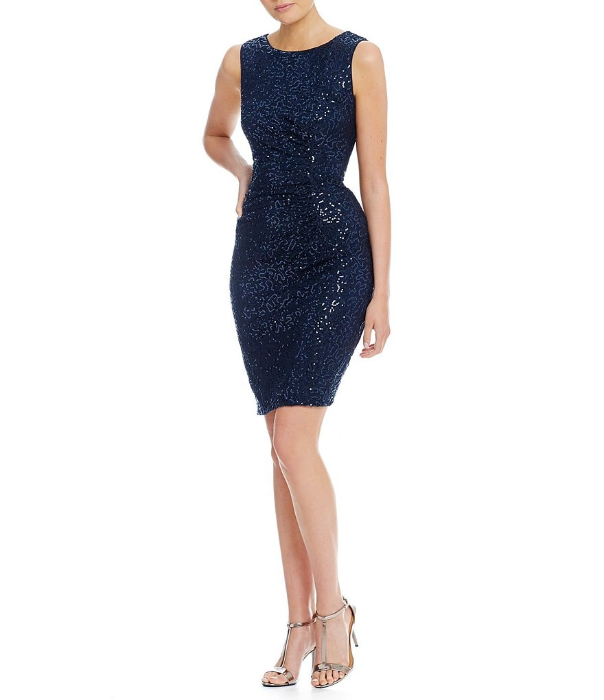 Calvin Klein All Over Sequin Ruched Side Short Social Dress