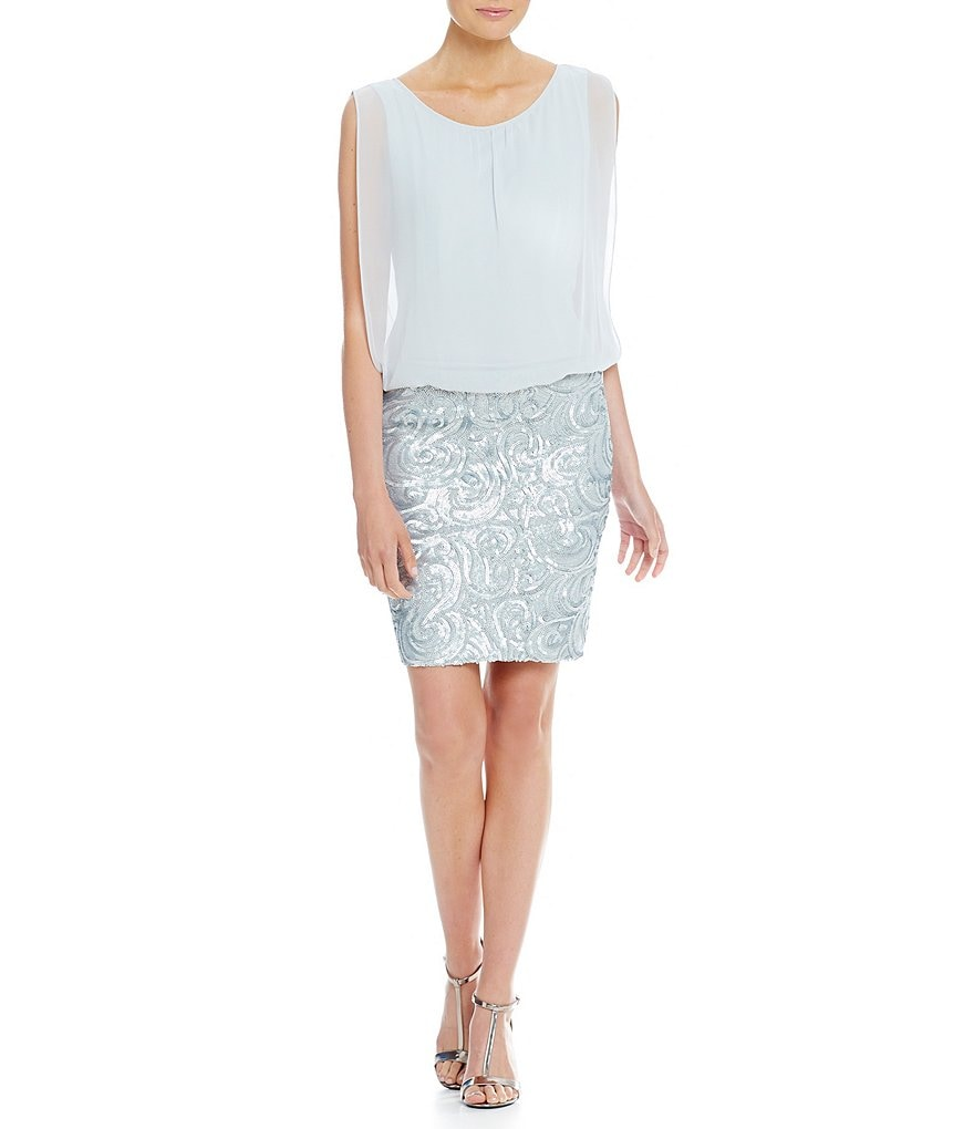 Calvin Klein Blouson Top Sequin Skirt Social Dress